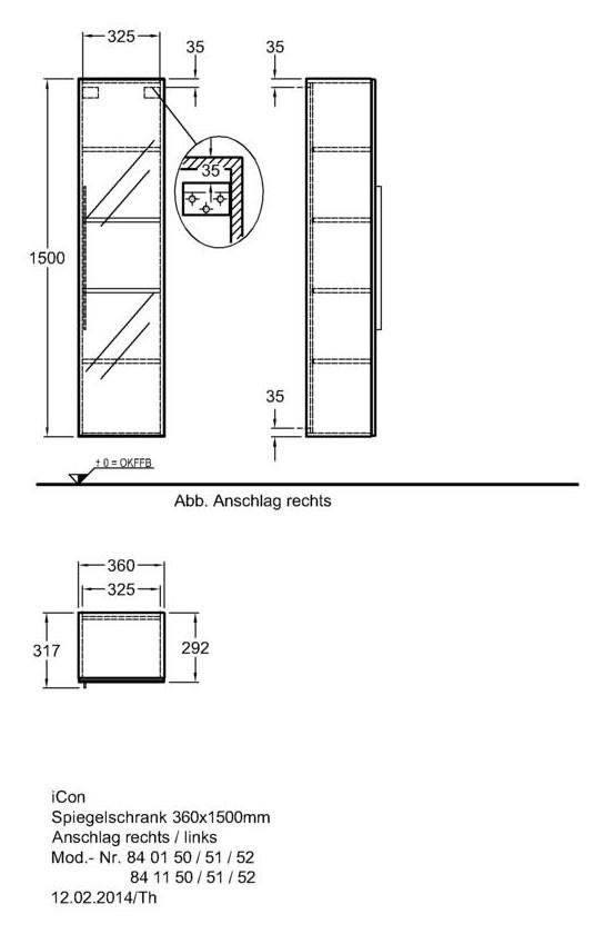 keramag icon spiegelschrank 360mm x 1800mm x 309mm alpin. Black Bedroom Furniture Sets. Home Design Ideas