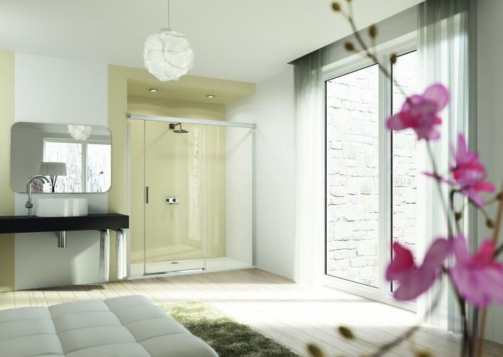 Hueppe 2015 Foto Design elegance 4-Eck Gleittur mit festem Segment und Nebenteil rechts