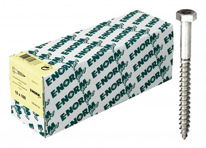 25 Stück Sechskant-Holzschrauben DIN 571 Edelstahl A2  12x280