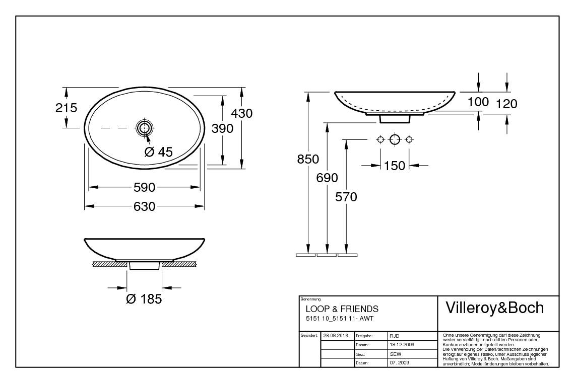 villeroy boch loop friends aufsatzwaschtisch 630 x 430. Black Bedroom Furniture Sets. Home Design Ideas