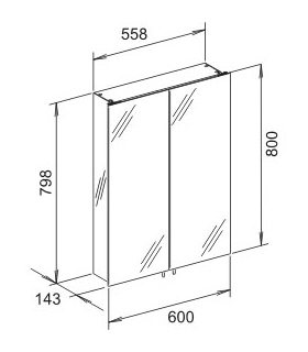 keuco royal 30 spiegelschrank 600 x 800 x 143 mm silber. Black Bedroom Furniture Sets. Home Design Ideas