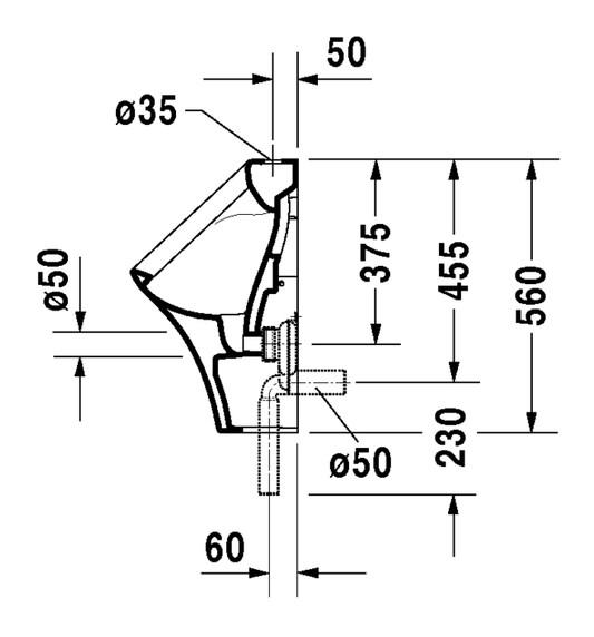 duravit durastyle urinal 300 x 340 mm mit zulauf von oben absaugend und fliege wei. Black Bedroom Furniture Sets. Home Design Ideas