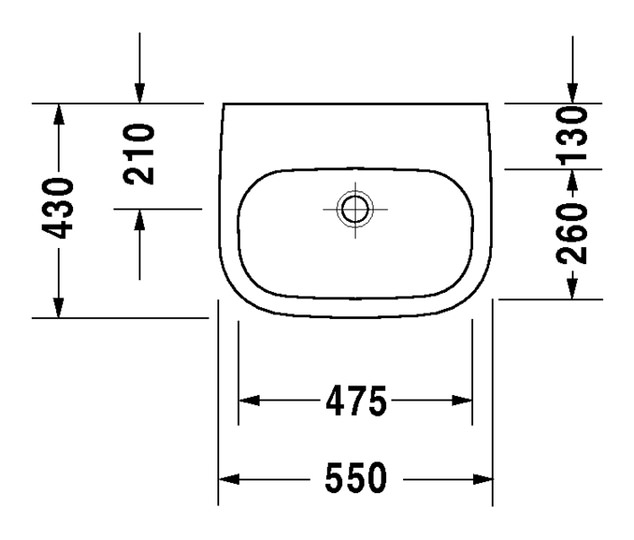 duravit d code waschtisch med 550 x 430 mm ohne hahnloch. Black Bedroom Furniture Sets. Home Design Ideas