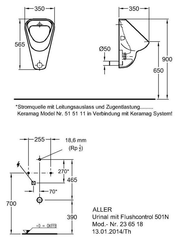 keramag aller urinal 236518 flushcontrol 501 n wei alpin keratect 236518600. Black Bedroom Furniture Sets. Home Design Ideas