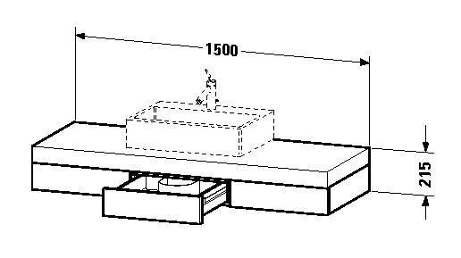 duravit fogo waschtisch konsole 1500 x 215 x 550 mm mit 3 schubk sten f r aufsatzbecken mittig. Black Bedroom Furniture Sets. Home Design Ideas