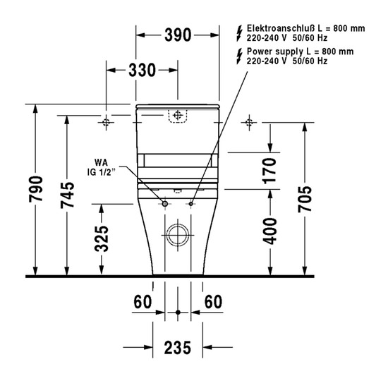 duravit durastyle stand wc kombination 376 x 705 mm. Black Bedroom Furniture Sets. Home Design Ideas