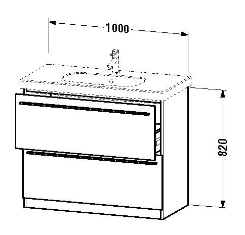 Waschtischunterschrank stehend  Duravit X-Large Waschtischunterschrank stehend 1000 x 820 x 470 mm ...