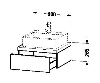 duravit delos waschtisch konsole 600 x 265 x 565 mm mit 1 schubkasten f r aufsatzschalen oder. Black Bedroom Furniture Sets. Home Design Ideas