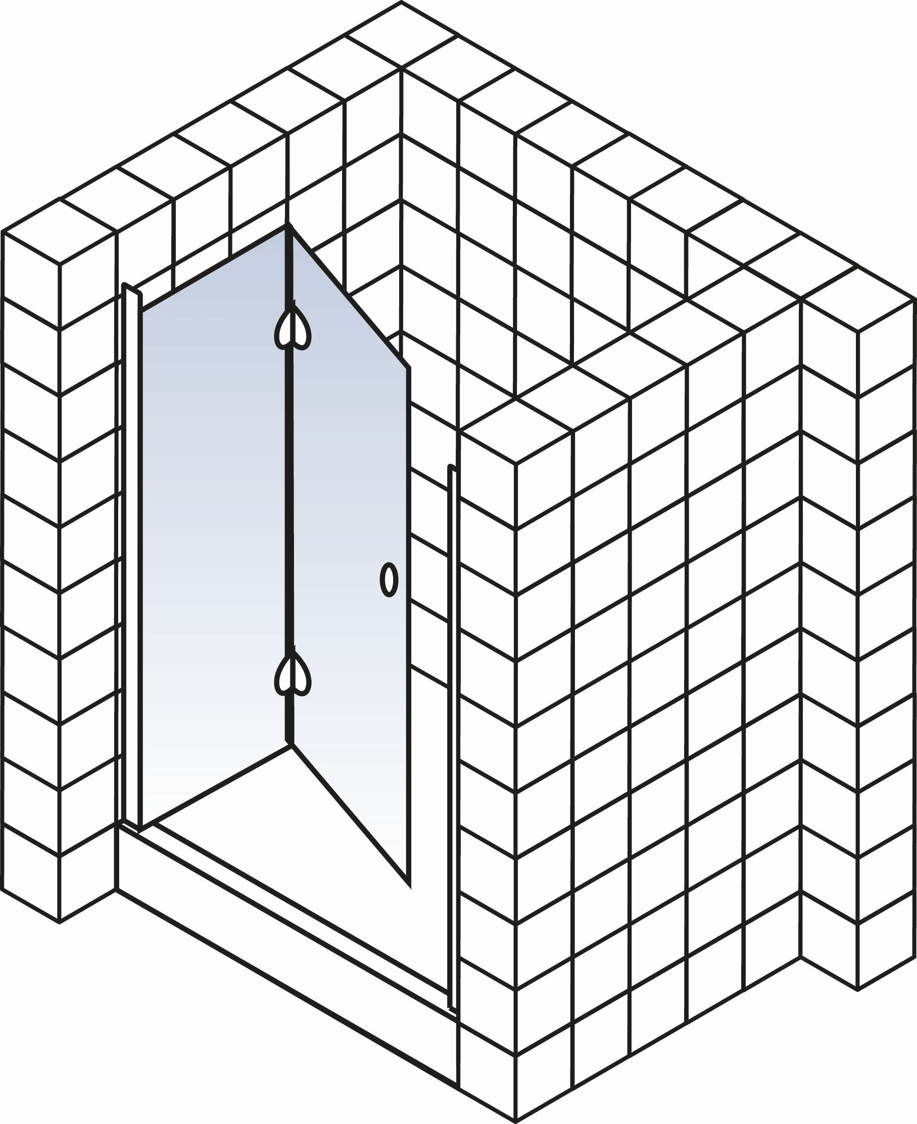 schulte garant drehfaltt r 2 teilig f r nische echtglas sonderma d870199. Black Bedroom Furniture Sets. Home Design Ideas