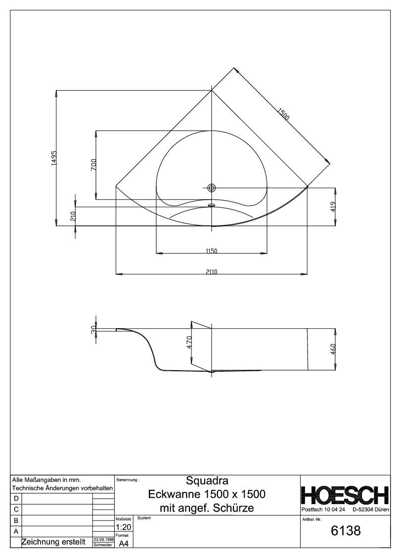 hoesch squadra eckbadewanne 1500 mm mit angeformter. Black Bedroom Furniture Sets. Home Design Ideas