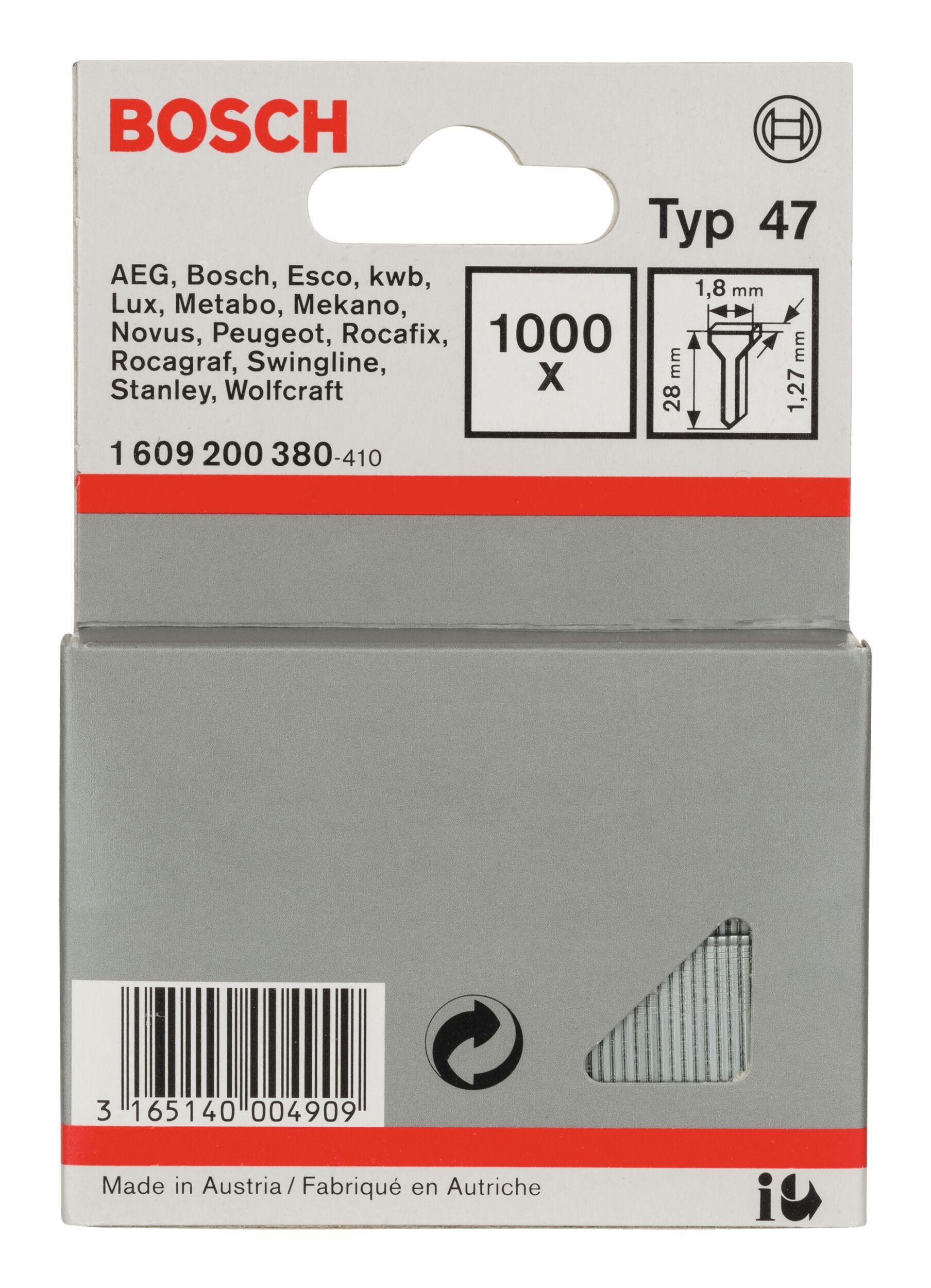 Bosch Zubehör Typ 47 Tackernagel - 1,27 x 28 x 1,8 mm -... 1609200380 (1.000 Stück)