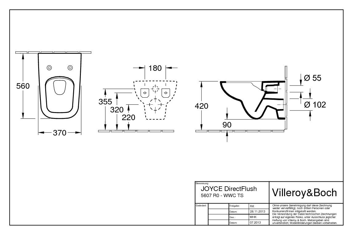 villeroy boch joyce tiefsp lklosett wand wc ohne sp lrand wei alpin 5607r001. Black Bedroom Furniture Sets. Home Design Ideas