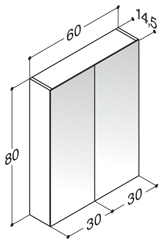 scanbad delta spiegelschrank f r led lampen 60cm x 80cm. Black Bedroom Furniture Sets. Home Design Ideas
