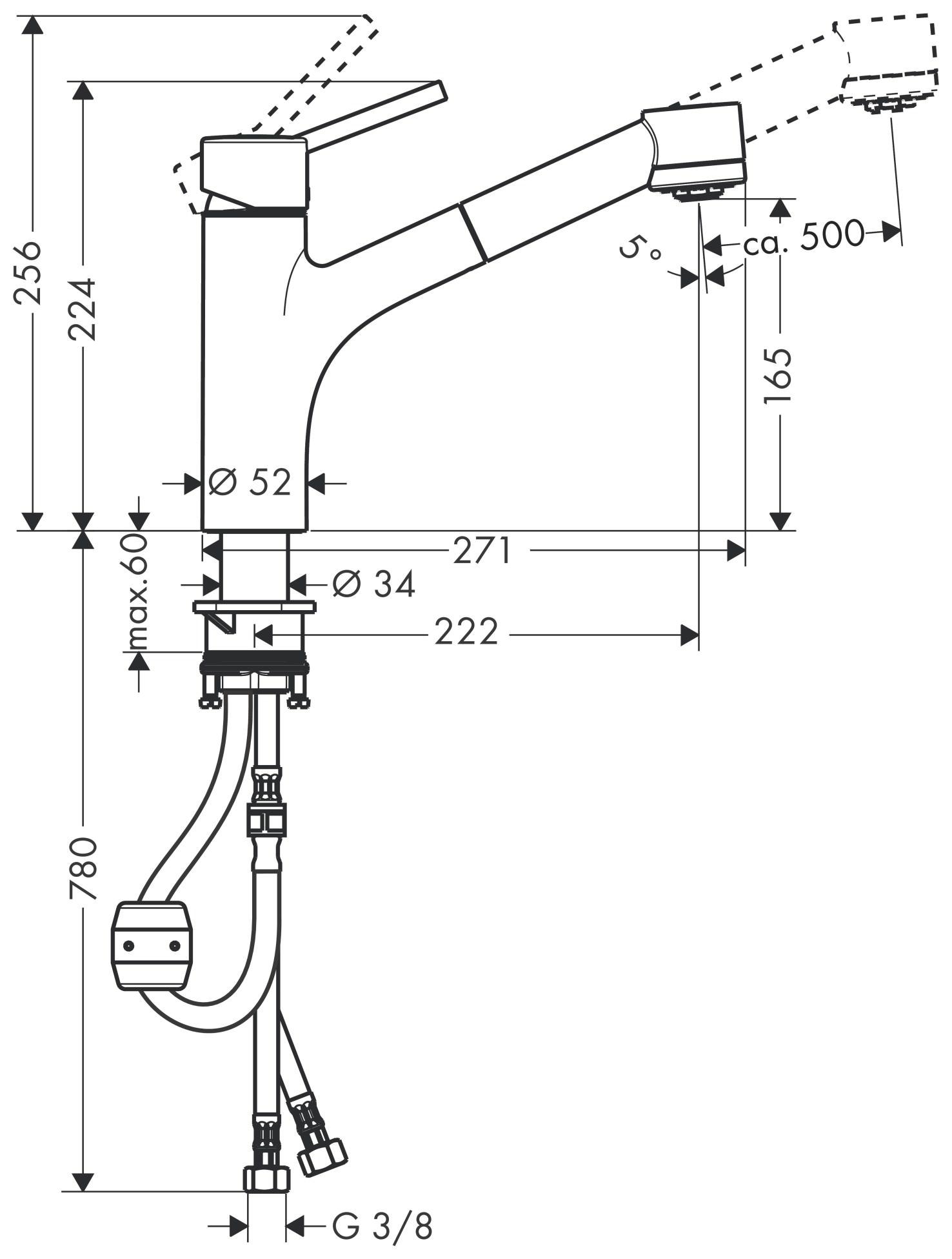 hansgrohe talis s sp ltischmischer chrom mit ausziehbrause 32841000. Black Bedroom Furniture Sets. Home Design Ideas