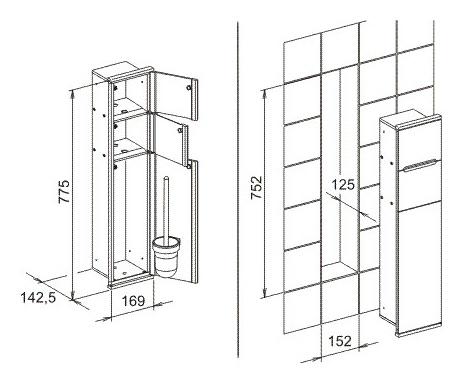 keuco plan integral modul wc 1 176 x 775 x 143 mm links mit toilettenpapierhalter verchromt. Black Bedroom Furniture Sets. Home Design Ideas