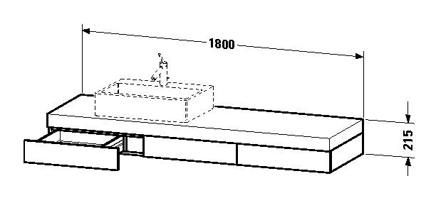 duravit fogo waschtisch konsole 1800 x 215 x 550 mm mit 3 schubk sten f r aufsatzbecken links. Black Bedroom Furniture Sets. Home Design Ideas
