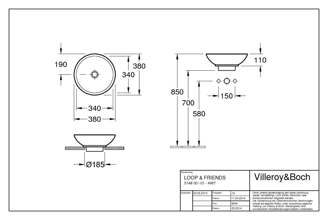 villeroy boch loop friends aufsatzwaschtisch 380 x 380 mm ohne hahnlochbank mit berlauf. Black Bedroom Furniture Sets. Home Design Ideas