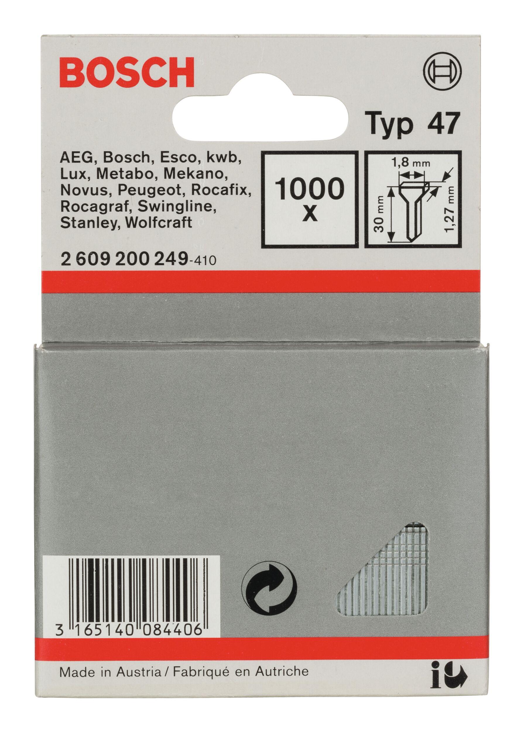 Bosch Zubehör Typ 47 Tackernagel - 1,27 x 30 x 1,8 mm -... 2609200249 (1.000 Stück)