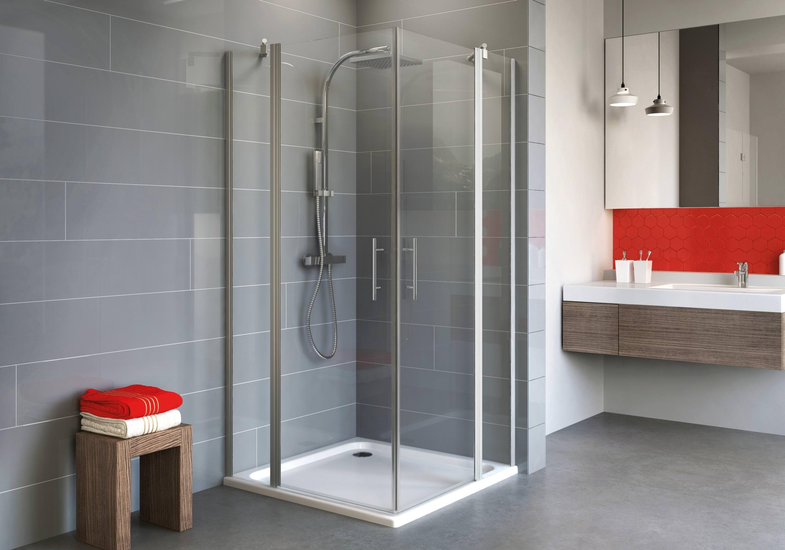 schulte alexa style 2 0 eckeinstieg 4 teilig klarglas hell alunatur 80 x 80 cm 192 cm. Black Bedroom Furniture Sets. Home Design Ideas