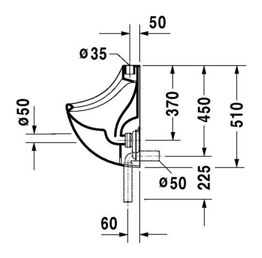 duravit jim urinal 345 x 350 mm mit zulauf von oben absaugend wei 0850350000. Black Bedroom Furniture Sets. Home Design Ideas