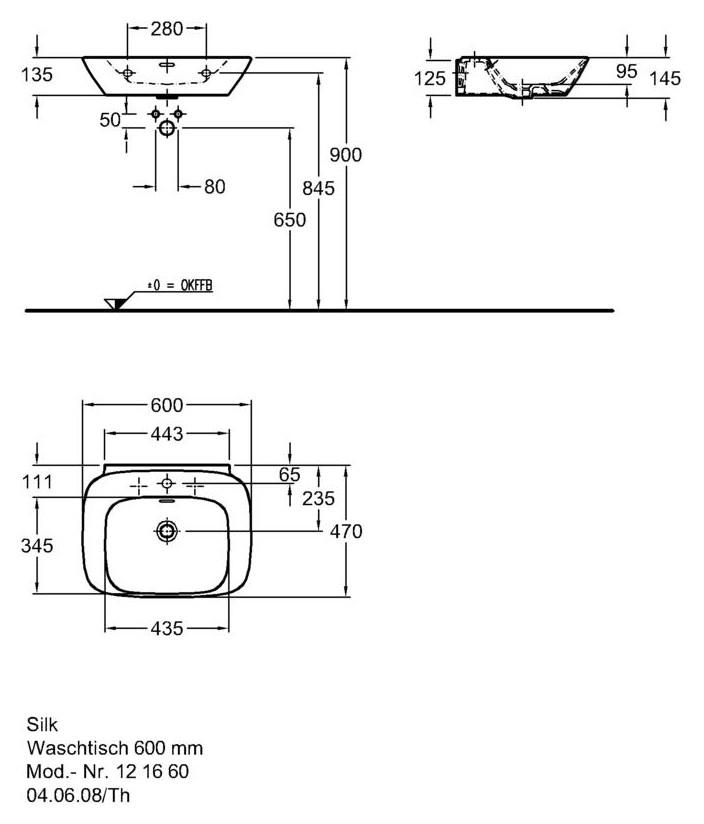keramag silk waschtisch 121660 600mm x 470mm wei alpin. Black Bedroom Furniture Sets. Home Design Ideas