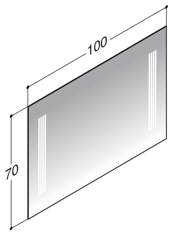 scanbad delta spiegel mit vertikal integrierter beleuchtung 100cm x 70cm 91400. Black Bedroom Furniture Sets. Home Design Ideas