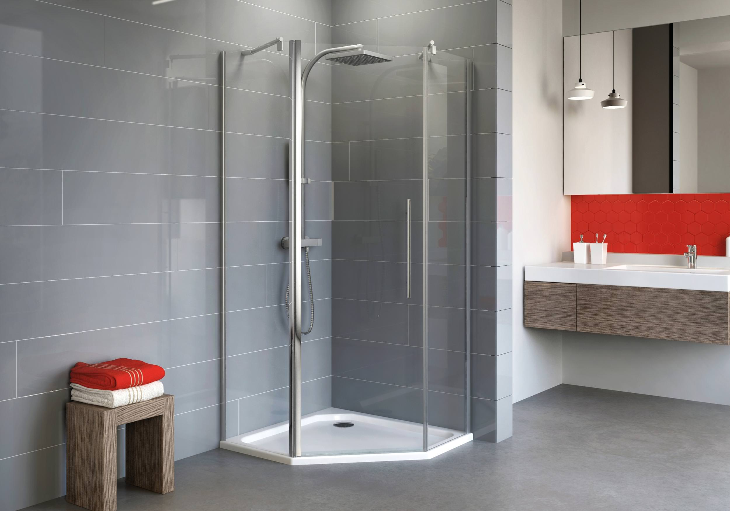 schulte alexa style 2 0 f nfeckdusche mit pendelt r klarglas hell chromoptik 90 x 90 cm 192 cm. Black Bedroom Furniture Sets. Home Design Ideas