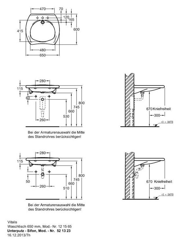 keramag vitalis waschtisch 121565 650mm x 600mm ohne. Black Bedroom Furniture Sets. Home Design Ideas