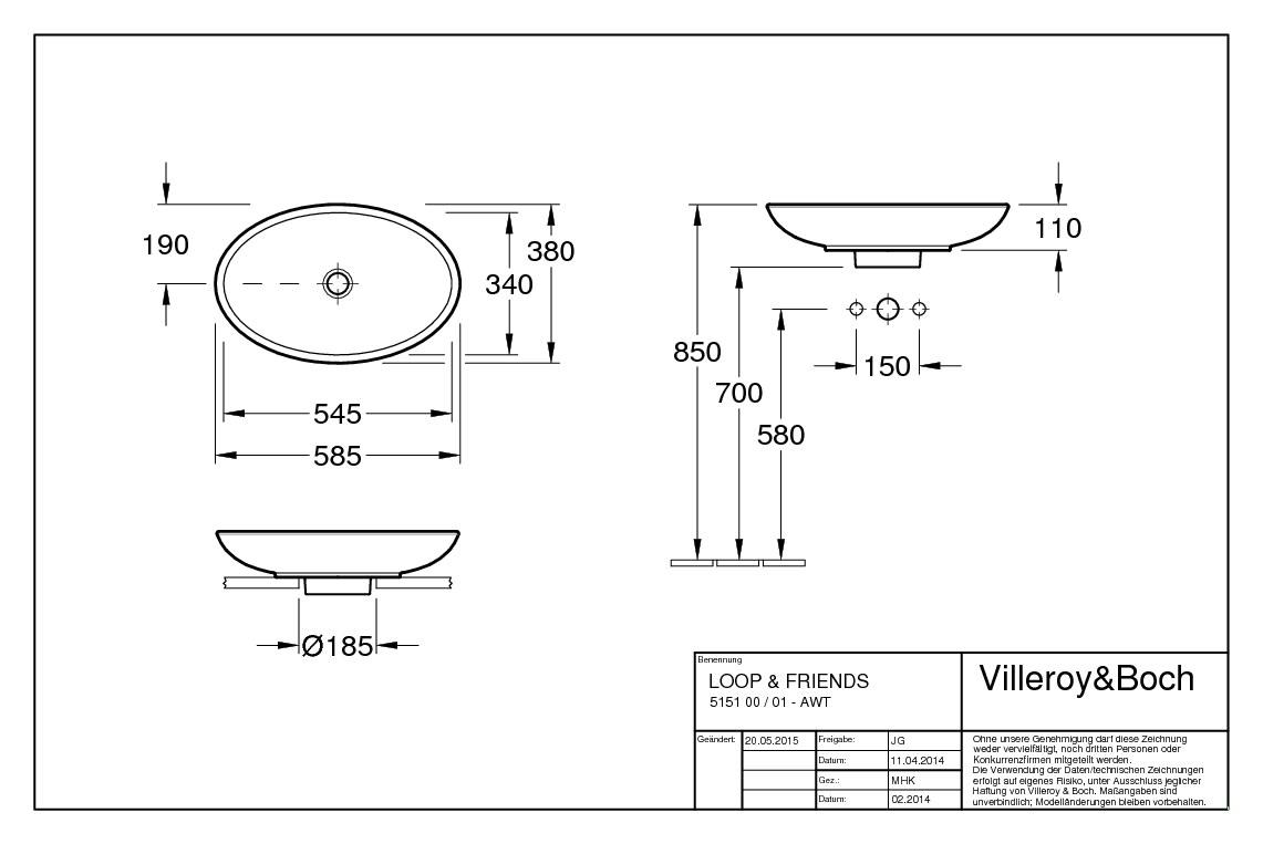 villeroy boch loop friends aufsatzwaschtisch 585 x 380. Black Bedroom Furniture Sets. Home Design Ideas
