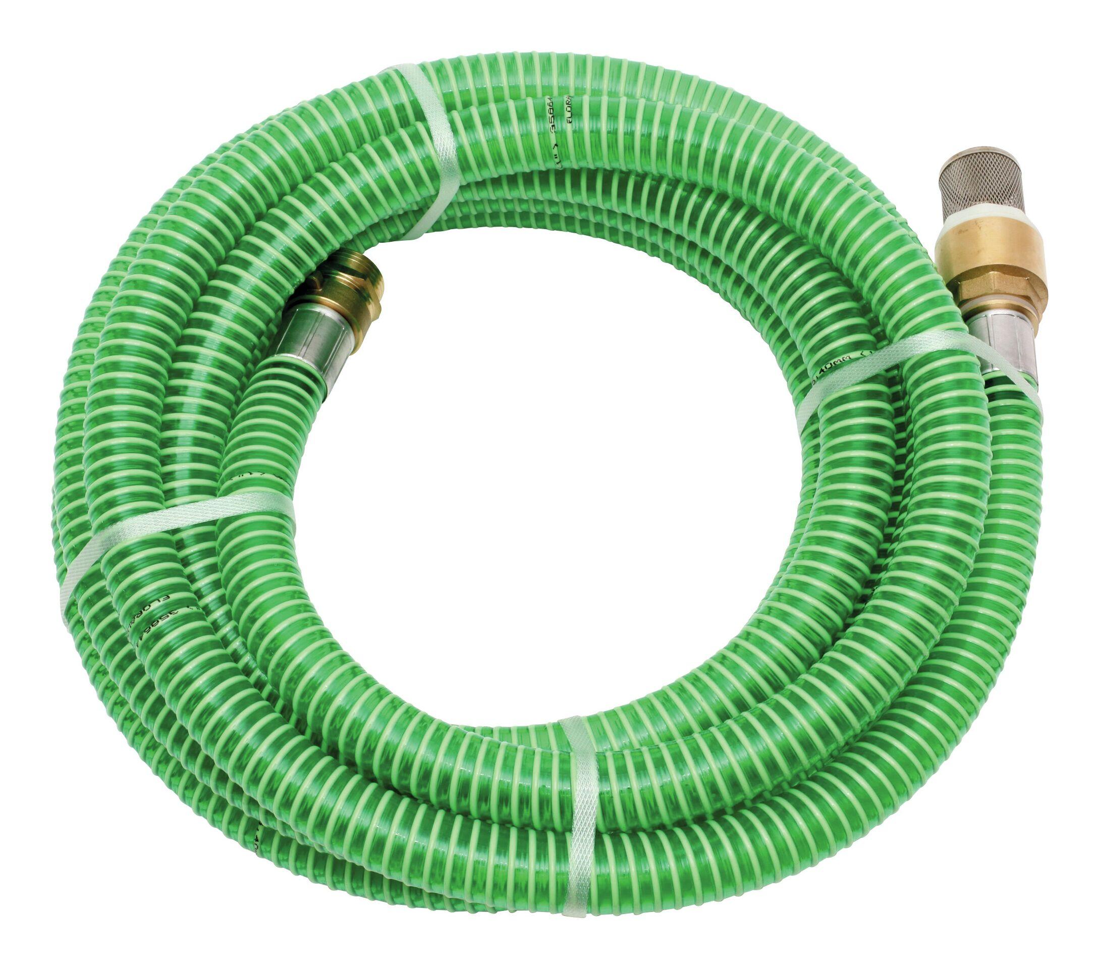 """Schlauchgarnitur 7m, 1"""" Messing-Armatur, grün"""