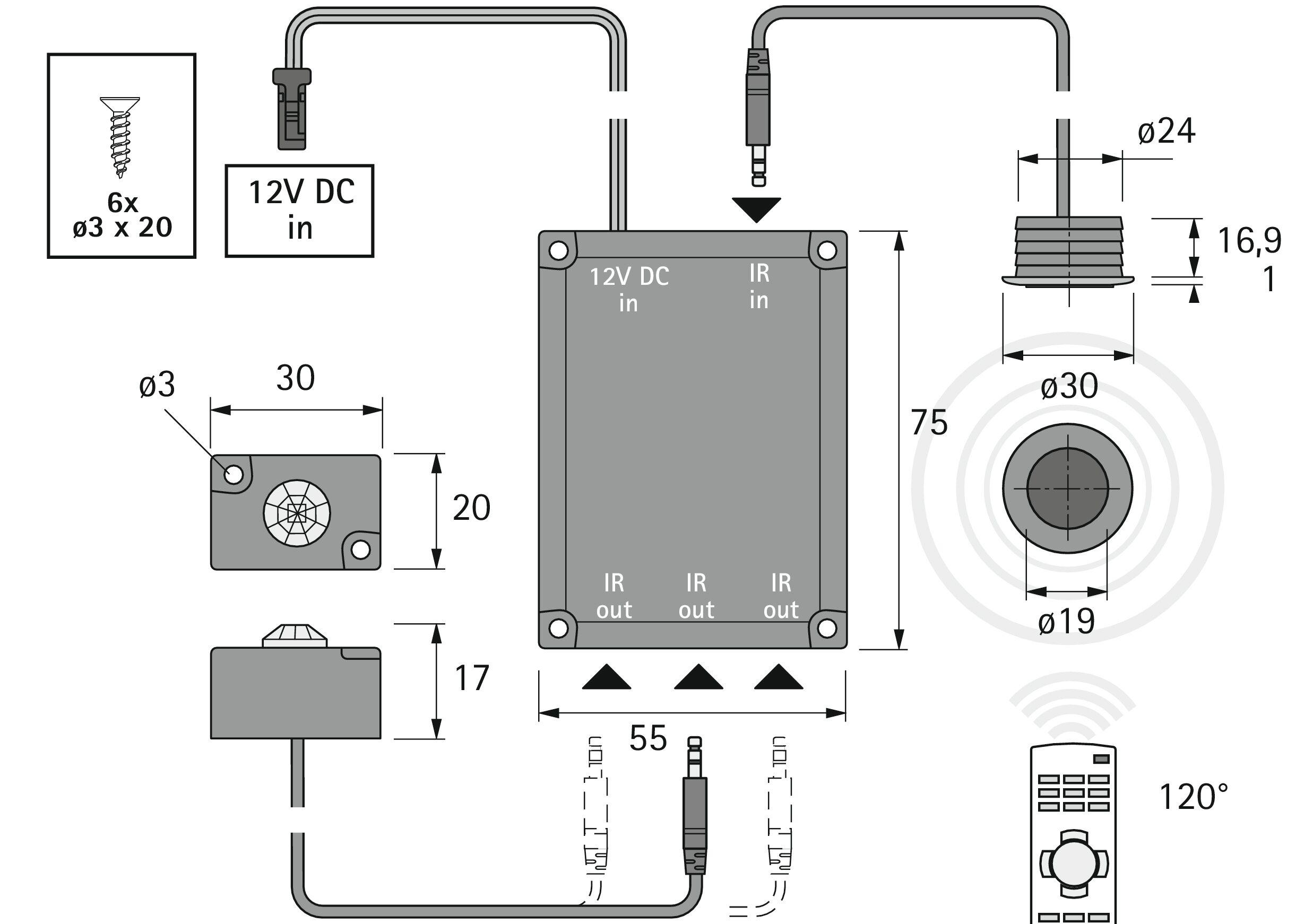 Halemeier IR Repeater Plus Sender 1.8m Klinkenstecker - 3005001