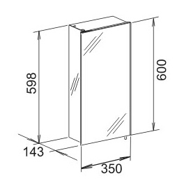 keuco royal 30 spiegelschrank 350 x 600 x 143 mm links silber gebeizt eloxiert 05621171200. Black Bedroom Furniture Sets. Home Design Ideas