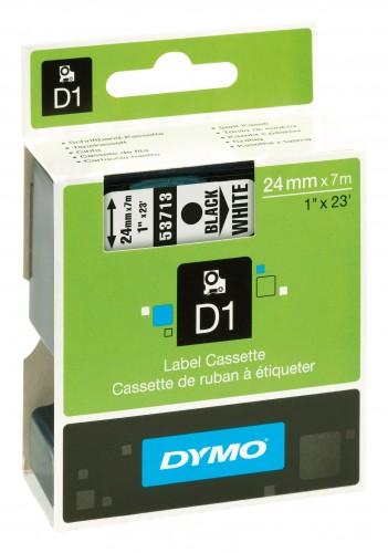 Dymo 2017 Foto D1-Schriftband-schwarz-weiss-Nr-53713-24mm-x-7m 53713