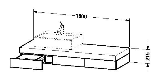 duravit fogo waschtisch konsole 1500 x 215 x 550 mm mit 3 schubk sten f r aufsatzbecken links. Black Bedroom Furniture Sets. Home Design Ideas