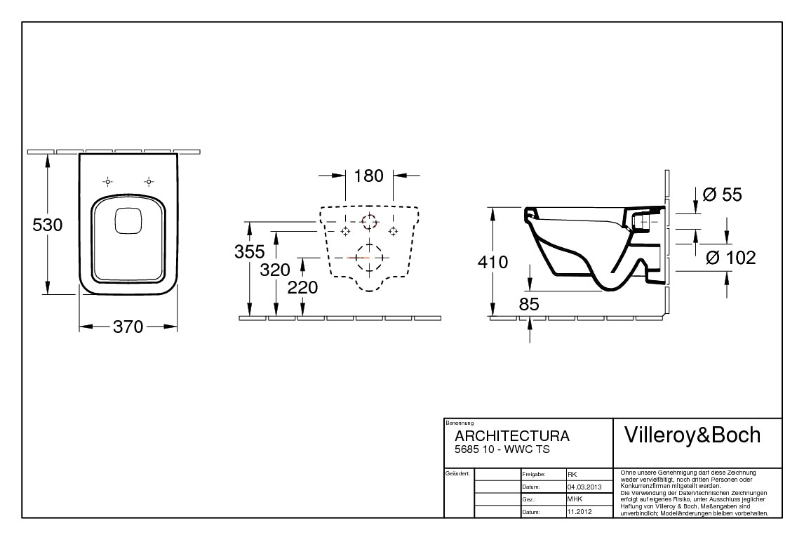 Villeroy & Boch Architectura Combi-Pack Toilette mit Spülrand ... | {Toilette maße 66}