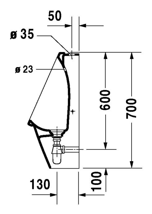 duravit starck 3 urinal 245 x 300 mm rimless mit zulauf von oben wei wondergliss 08262500001. Black Bedroom Furniture Sets. Home Design Ideas