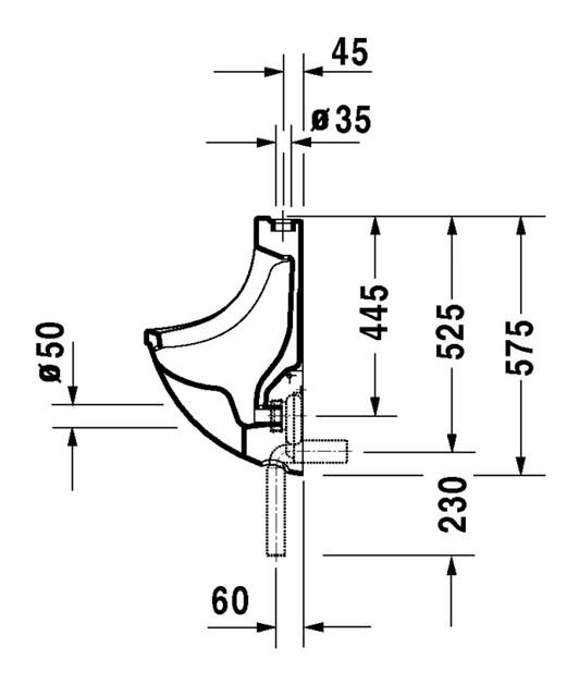 duravit starck 3 urinal 350 x 350 mm mit zulauf von oben absaugend und fliege wei. Black Bedroom Furniture Sets. Home Design Ideas