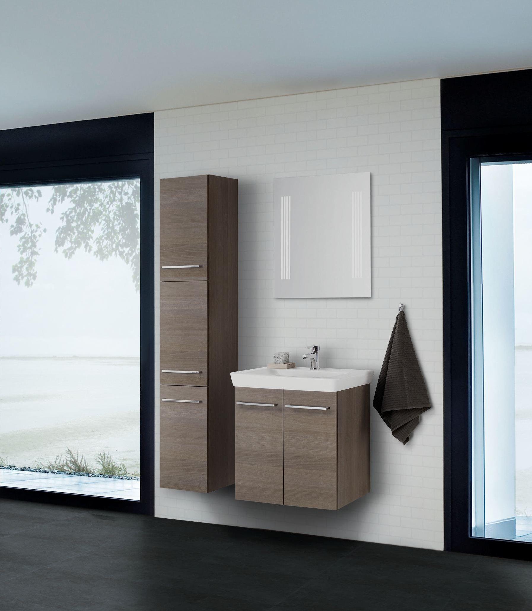 scanbad multo lotto komplett set 65cm mit spiegel grau. Black Bedroom Furniture Sets. Home Design Ideas