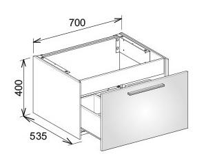 keuco royal 60 waschtischunterbau 700 x 400 x 535 mm wei lack seidenmatt 32141430000. Black Bedroom Furniture Sets. Home Design Ideas