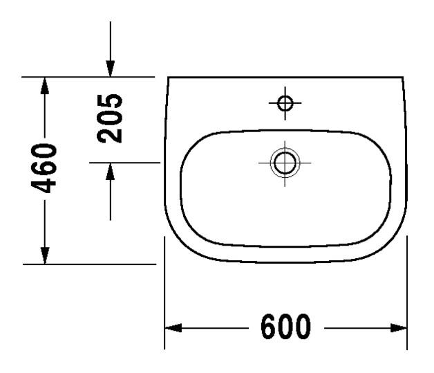 duravit d code waschtisch med 600 x 460 mm mit hahnloch. Black Bedroom Furniture Sets. Home Design Ideas