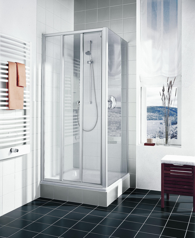 kermi ibiza 2000 gleitt r 3 teilig mit festfeld nische oder seitenwand klarglas hell silber. Black Bedroom Furniture Sets. Home Design Ideas