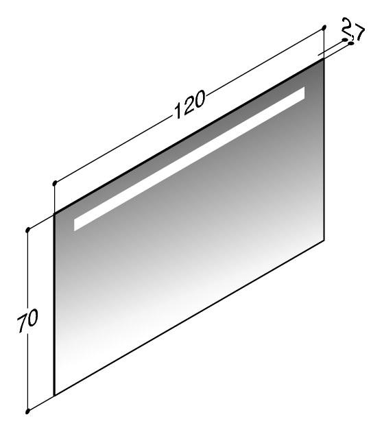 scanbad multo spiegel mit integrierter beleuchtung oben 120cm x 70cm 90720. Black Bedroom Furniture Sets. Home Design Ideas