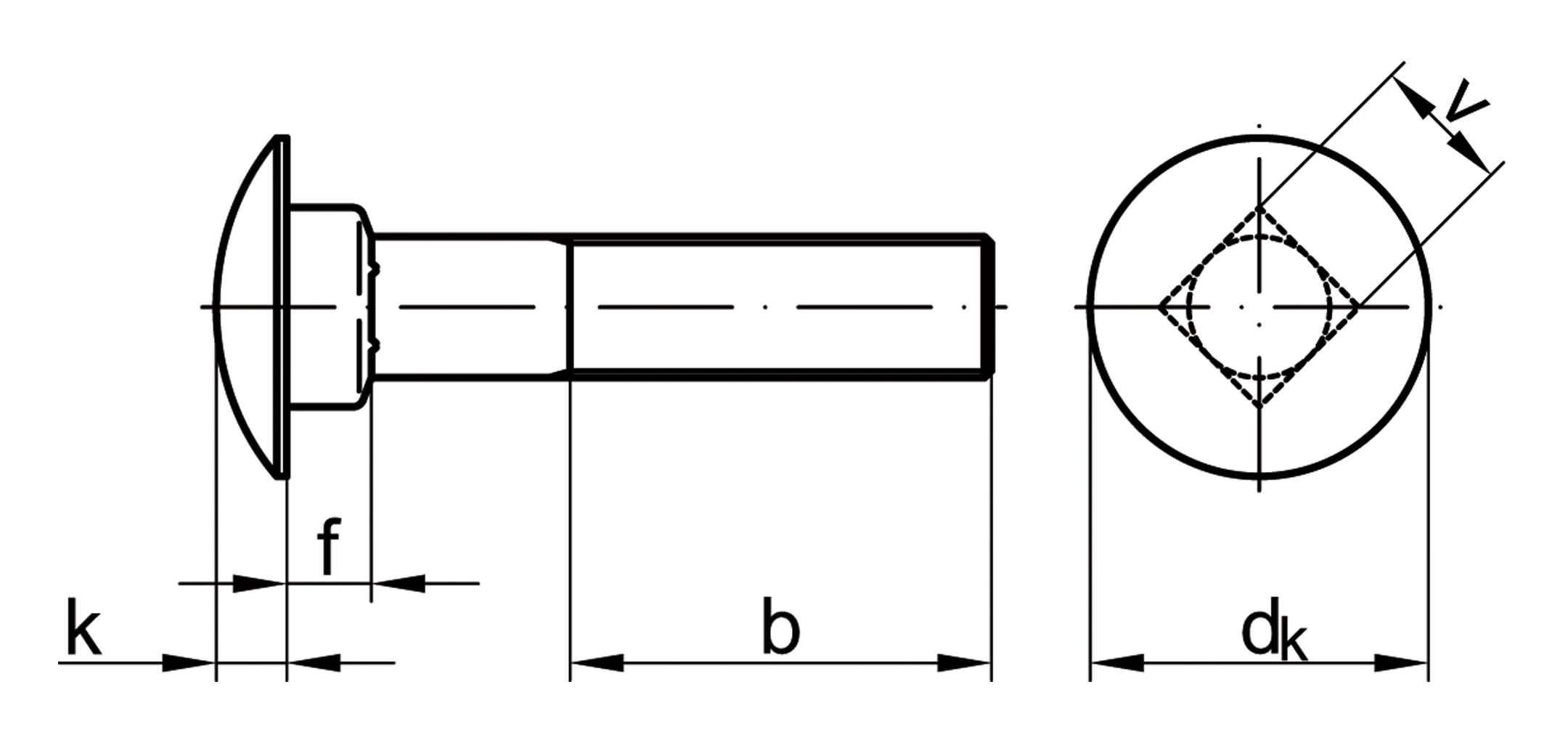 galvanisch verzinkt Mutter DIN 603 M 10 x 100mm VE = 100 St/ück Flachrundschrauben mit Vierkantansatz Stahl