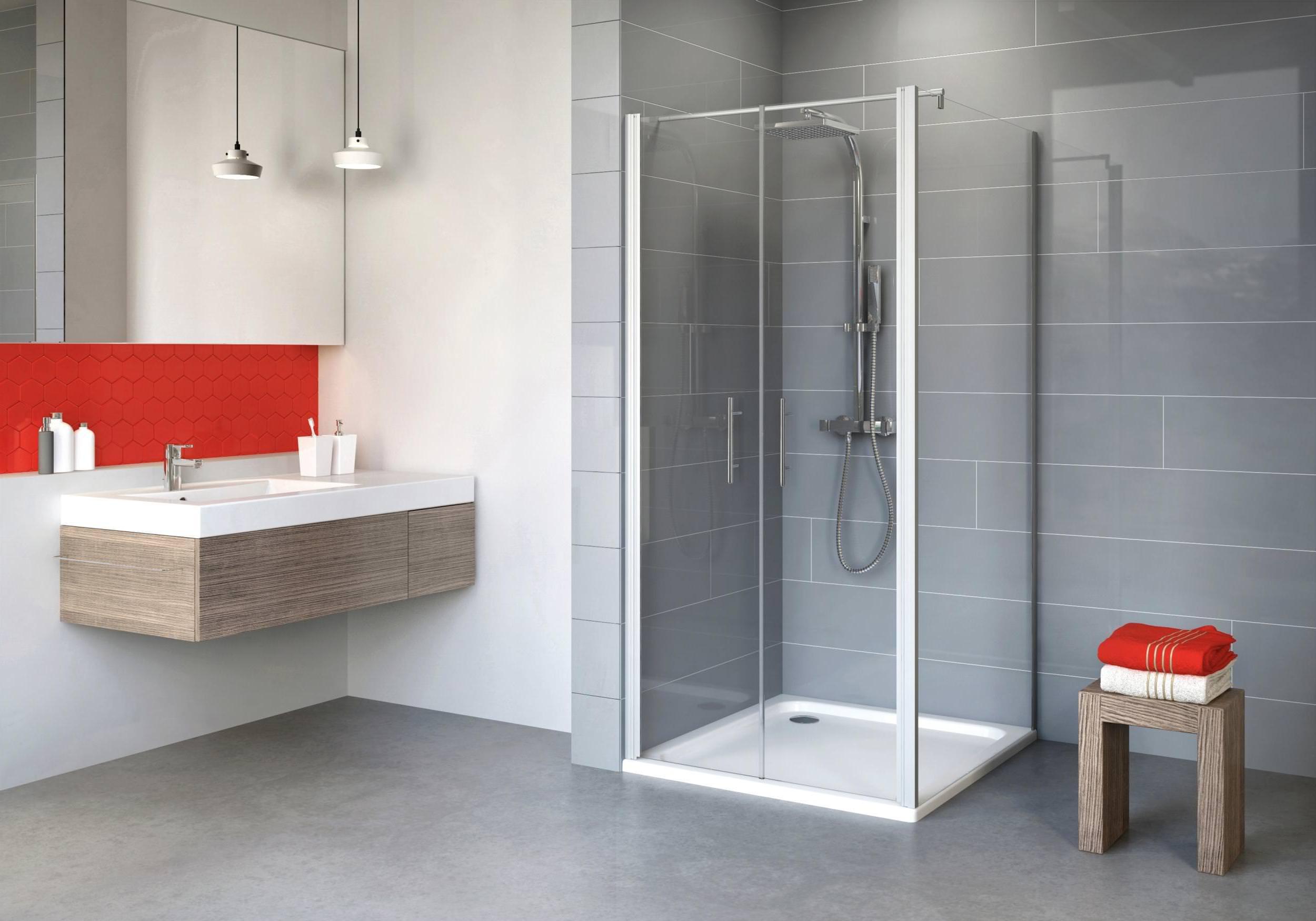 schulte alexa style 2 0 pendelt r 2 teilig mit seitenwand klarglas hell alunatur 80 x 80 cm. Black Bedroom Furniture Sets. Home Design Ideas